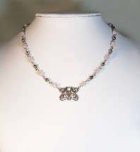 Antique Silver Victorian Lovebirds Beaded Choker with Faceted Pink and C... - $14.99