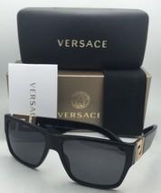 Polarized VERSACE Sunglasses VE 4296 GB1/81 59-16 Black & Gold Frame w/Grey Lens
