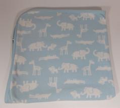 Carters Safari Baby Blanket 28in Blue Security Lovey Elephant Giraffe Hi... - $14.99