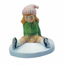 CS figurine vtg Japan porcelain Taiwan 1981 girl ice skates fall skating... - $19.75