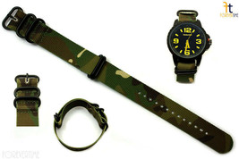 24mm Compatible Fit Luminox Nylon Woven Camouflage Watch Band 4 Black S/S Rings  - $22.95
