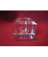 Antique Square Clear Beveled Glass Inkwell   - $23.99