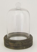 """Glass Dome Cloche on Mirrored Wooden base 9"""" Tall - $41.53"""