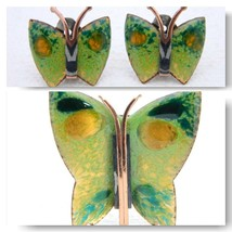 VTG MATISSE RENOIR Signed Green Yellow Enamel Copper Butterfly Brooch Ea... - $247.50