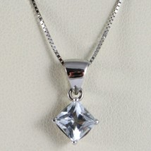 Necklace White Gold 750 - 18K Aquamarine Princess Cut CT 1.00 Chain, Veneta image 1