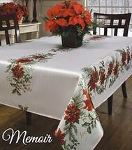 Christmas Memories Red Poinsettia Hollies And Berries Tablecloth 60 x 104 - $39.99