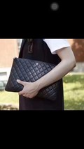 AUTHENTIC CHANEL Black Quilted Lambskin Large Clutch Bag GHW image 9