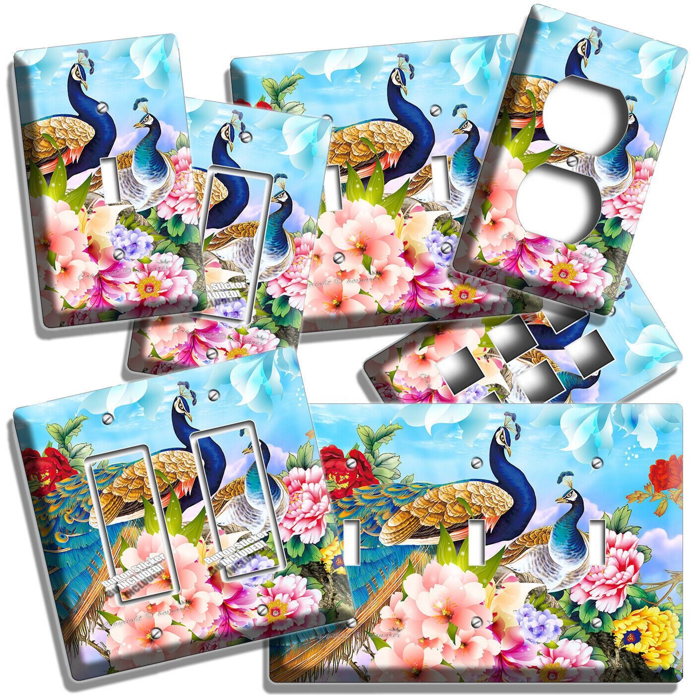 CHINESE PEACOCK BIRDS FLORAL COLORFUL LIGHT SWITCH OUTLET WALL PLATES ROOM DECOR