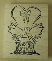Wedding Cake with Doves & Heart by Another Stamp Co Marriage Celebration Love - $2.59