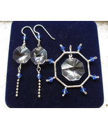 Swarovski crystal sterling jewelry set, octagon pendant earring, blue white - £65.09 GBP