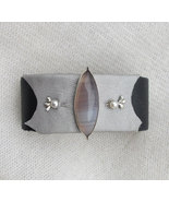 Silver cuff bracelet, grey agate bracelet, soft leather cuff, leather st... - $75.00