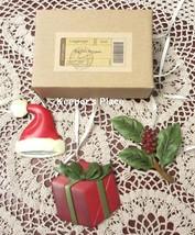 3 Longaberger Basket Tie On Christmas Holiday Santa Hat Holly Gift New Trio Set - $13.00