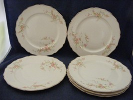 "6 Canonsburg Pottery Keystone Pink Roses Gold Trim 8"" Salad Plates - $39.95"