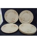 "6 Canonsburg Pottery Keystone Pink Roses Gold Trim 8"" Salad Plates - $39.95"