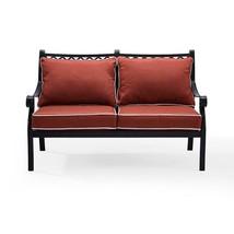 Outdoor Seating Furniture in Cast Aluminum Patio Loveseat with Sangria C... - $331.28