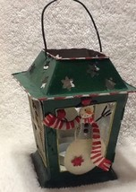 Snowman Reindeer Metal Painted Urban Farmhouse Tea light Christmas Lantern - $14.01