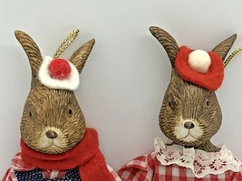 "Set of 2 Christmas Ornaments Boy And Girl Farmer Rabbits 7 "" Tall - $15.79"