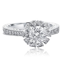 1.52 TCW Round Cut Crown Solitaire Diamond Engagement Ring 14k White Gold - $3,384.81