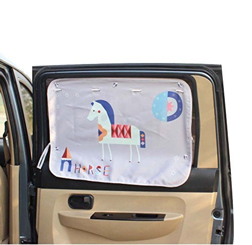 PANDA SUPERSTORE Lovely Cartoon Horse Car Curtain Sunshade Drape Visor Car Windo