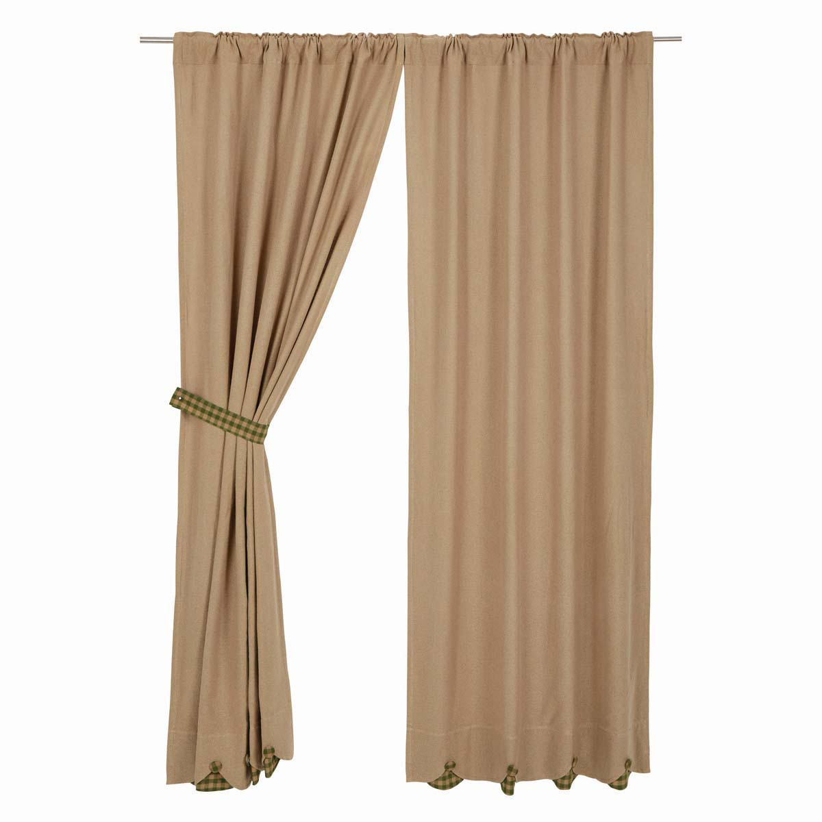 BURLAP NATURAL Long Panels w/Green Check - Set of 2 - 84x40 - Country - VHC