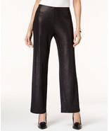 $59.50 Alfani Foiled Wide-Leg Pants Deep Black L - $38.60