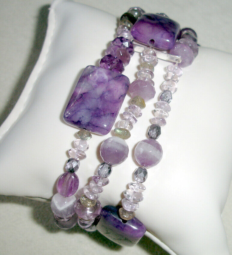 Lenox Amethyst Three Row Stretch Bracelet Assorted Bead was $150 New