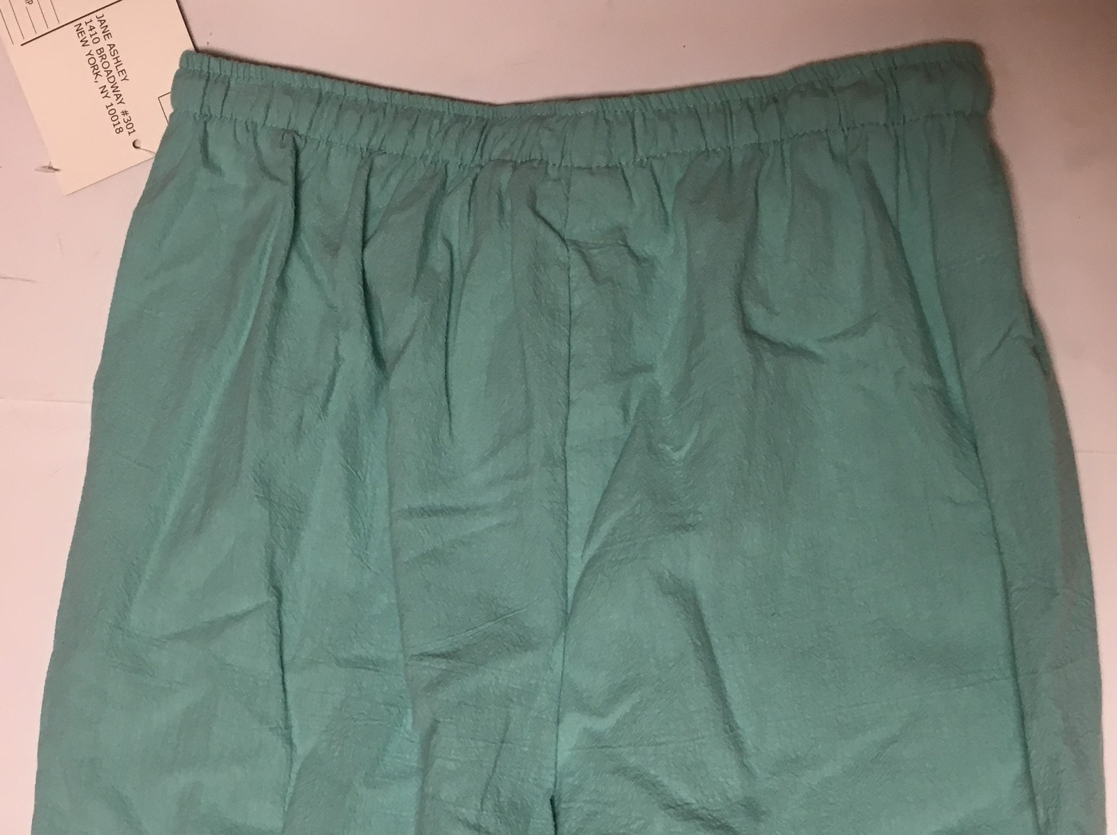 Jane Ashley Casual Lifestyle Lime Aqua Capri Pants Sz L Drawstring image 7