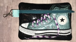 Teal with Black Background Converse High Top zip bag with clip - $14.00