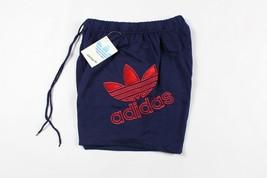 Vintage 80s Adidas Homme Petit Trefoil Big Logo Sort Out Polaire Short Bleu - $65.02
