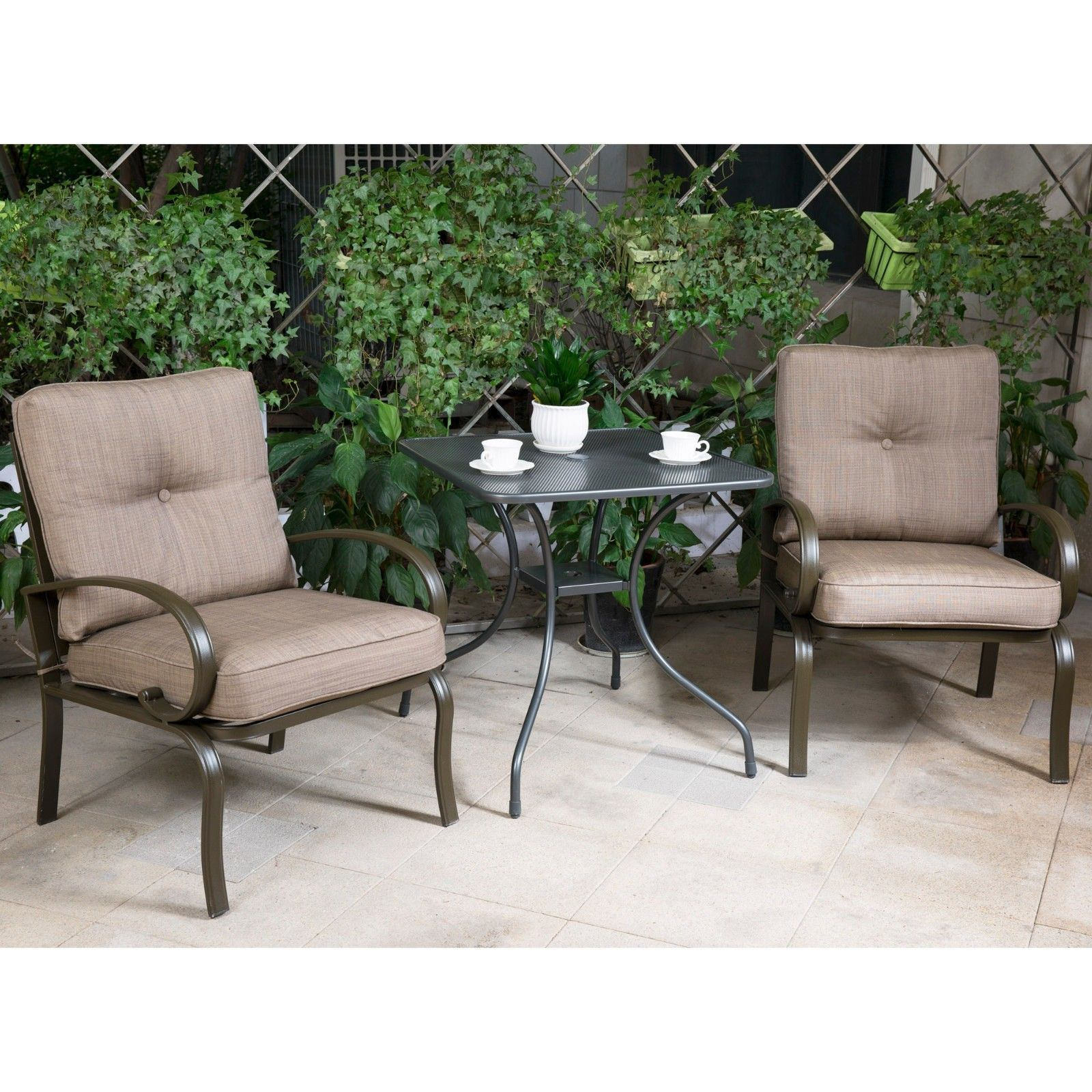 "Outdoor 3 PC Bistro Patio Furniture Set Wrought Iron 28"" Steel Chairs with Table"