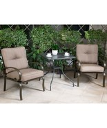 "Outdoor 3 PC Bistro Patio Furniture Set Wrought Iron 28"" Steel Chairs wi... - $189.99"