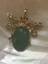 Estate Green Oval Stone Jelly Belly Beetle Bug Insect with Clear Rhinestone Acce image 3