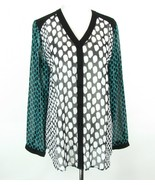 CHICO'S Size 2 (L, 12/14) Sheer Dot Print Mid-Thigh Blouse Tunic - $17.99