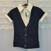 French Toast NWT 2T White Shirt/Navy Sweater vest top Shirt Kids - $6.89