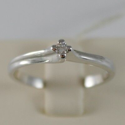 SOLID 18K WHITE GOLD SOLITAIRE WEDDING BAND RING WITH DIAMOND 0.05 MADE IN ITALY