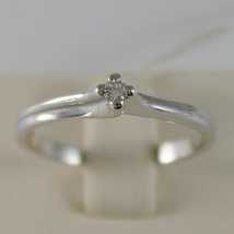 SOLID 18K WHITE GOLD SOLITAIRE WEDDING BAND RING WITH DIAMOND 0.05 MADE IN ITALY image 1