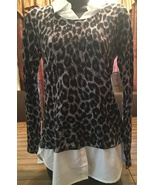 Womes gray leopard two-fer shirt top blouse size small 4-6 - $12.00