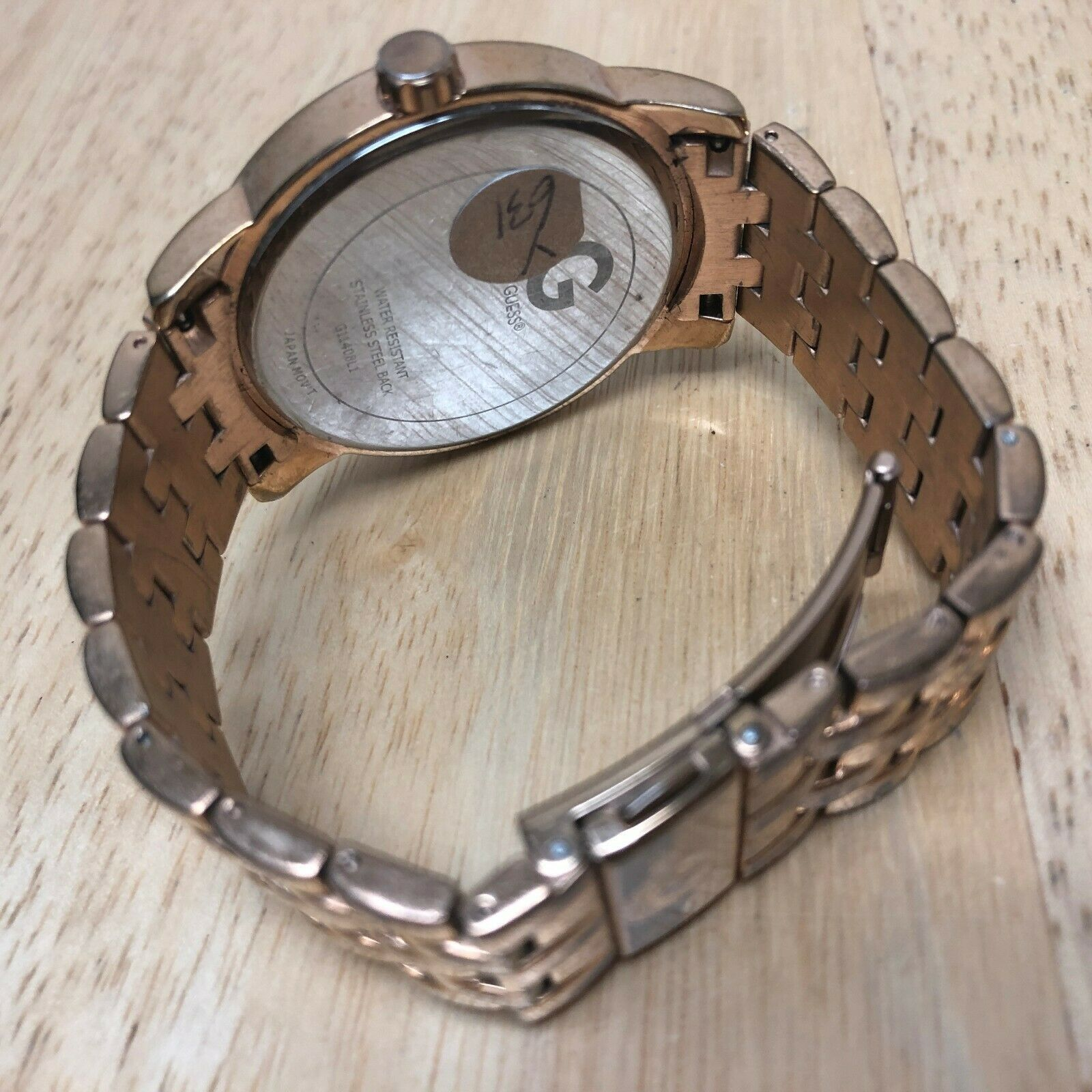 G By GUESS Lady Rose Gold Tone Rhinestone Analog Quartz Watch Hours~New Battery image 4