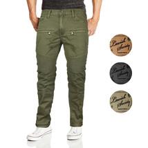 Lavish Society Men's Distressed Quilted Moto Slim Fit Denim Jeans