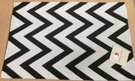 "Set of 3 Tapestry Placemats, 13"" x 19"" BLACK & WHITE ZIGZAGS, CHEVRON WO... - $15.83"