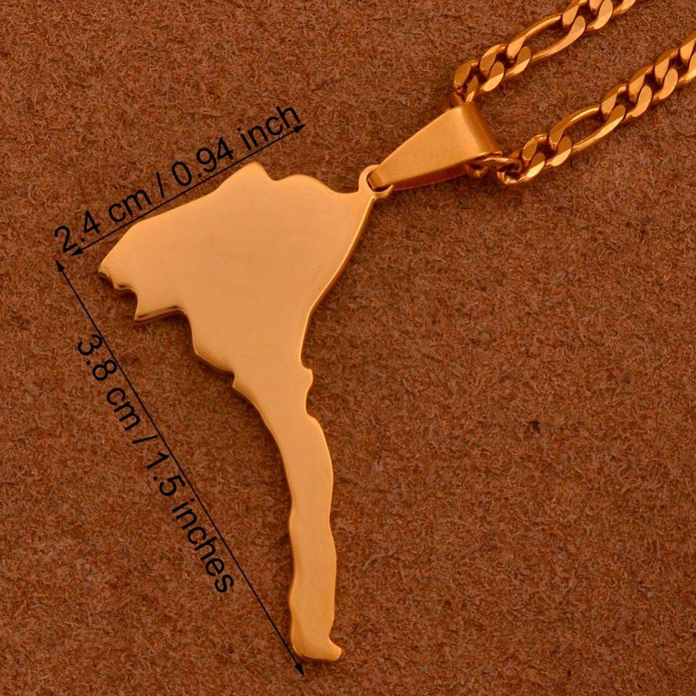 Anniyo Eritrea Map Pendant Figaro Chain for Women/Men Gold Color Jewelry Africa  image 2