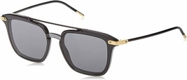 DOLCE & GABBANA PRINCE DG4327 Shiny Black Grey Lens Square Sunglasses Men - $247.78