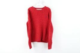 Vintage 90s Ralph Lauren Mens Small Faded Cotton Cable Knit Crewneck Swe... - $49.45