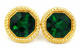Vintage Swarovski Crystal Earrings Emerald Green Holiday St Patricks Day... - $89.00