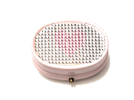 Rhinestone Small Oval Light Up Two Compartment Pill Organizer Box ~ Styl... - $10.95
