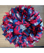 New England PATRIOTS Ribbon Wreaths Hand Crafted  3 Sizes Available Brad... - $30.00