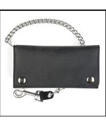 Black Leather Credit Card Wallet with Chain Bik... - $35.00