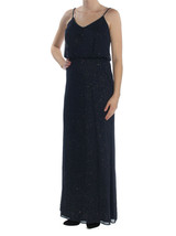 Blondie Nites Womens Glitter Sheer Blouson Dress,Navy, 7, 2730-3 - $50.48