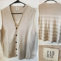 GAP Vintage Khaki Linen Small VEST Hong Kong Stripped Back  - $24.24