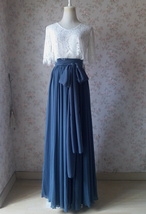 Women DUSTY BLUE Chiffon Maxi Skirt High Waist Maxi Chiffon Wedding Skirt image 14